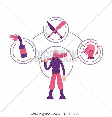 Rebel Archetype Flat Concept Vector Illustration. Young Man With Weapon. Aggressive Protester 2d Car