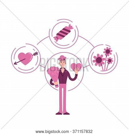 Lover Archetype Flat Concept Vector Illustration. Young Guy With Flowers Bouquet 2d Cartoon Characte