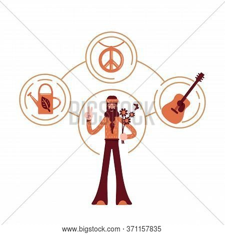 Innocent Archetype Flat Concept Vector Illustration. Pacifist In Vintage Clothes 2d Cartoon Characte