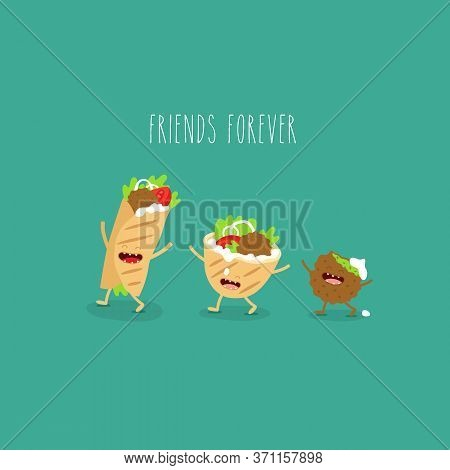 Falafel Pita Donner. Funny Cute Image. Vector Illustration.