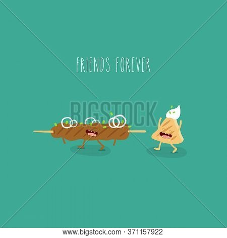 Kebab Flatbread Funny Friends Forever. Vector Illustration.