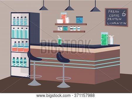 Empty Fitness Bar Flat Color Vector Illustration. Healthy Drinks Establishment 2d Cartoon Interior W