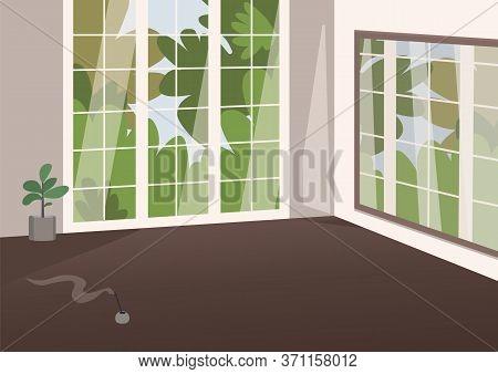 Empty Spacious Room Flat Color Vector Illustration. Cozy Apartment 2d Cartoon Interior With No Furni
