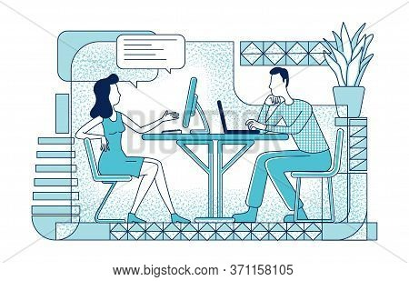 Collaborative Project Flat Silhouette Vector Illustration. Coworkers Communication And Cooperation O