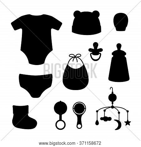 Cap, Bib, Panties, Clacks, Bottle, Pacifier, Sock, Mitten, Mobile For Crib, Bodysuit. Black Silhouet