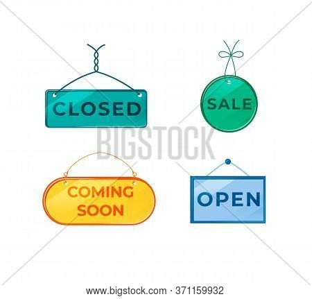 Promotional Vector Board Sign Illustrations Set. Shop Signboard Designs Pack With Typography. Openin
