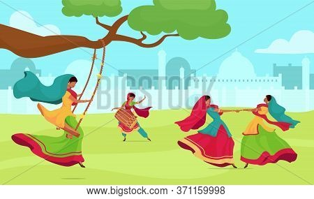Teej Festival Flat Color Vector Illustration. Woman Dance And Sing. Traditional Religious Ceremony.