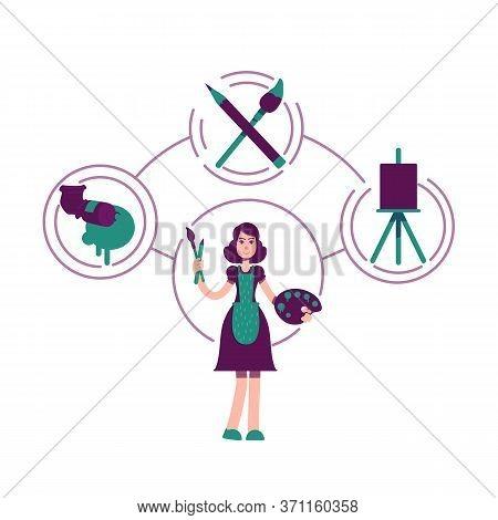 Creator Archetype Flat Concept Vector Illustration. Female Painter 2d Cartoon Character For Web Desi