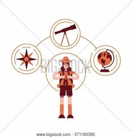 Explorer Archetype Flat Concept Vector Illustration. Young Boy Scout 2d Cartoon Character For Web De