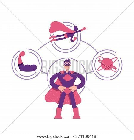 Hero Archetype Flat Concept Vector Illustration. Young Brave Man In Cape 2d Cartoon Character For We