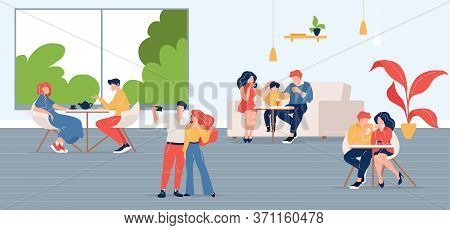 People In City Cafe Flat Color Vector Illustration. Friends Meeting In Coffeehouse. Colleague Lunch