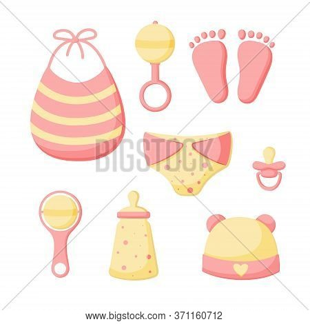 A Set Of Things For A Newborn Isolated On A White Background. Collection For Girls. Cap, Bib, Pantie