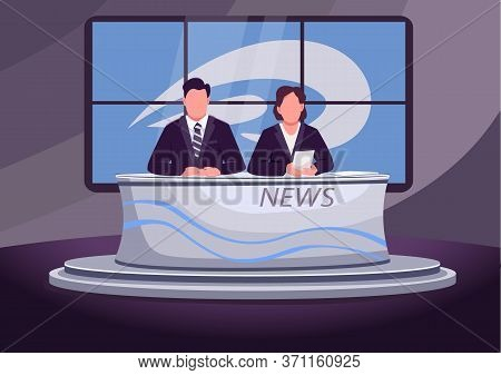 Breaking News Flat Color Vector Illustration. Male And Female Newscasters, Newsreaders 2d Cartoon Ch