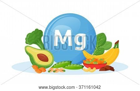 Products Containing Magnesium Cartoon Vector Illustration. Mg In Broccoli And Spinach Veggies. Banan