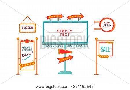 Shop Sale And Opening Vintage Vector Ads Board Sign Illustrations Set. Commercial Billboard Mockup D