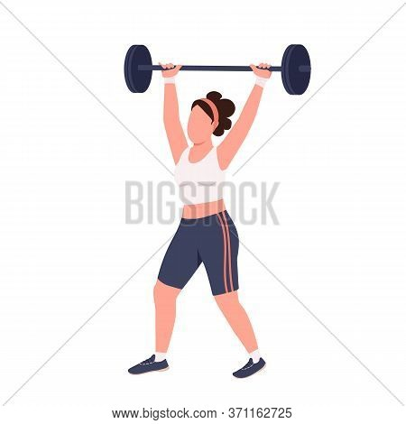 Sportswoman Lifting Barbell Flat Color Vector Faceless Character. Amateur Weightlifter Workout Isola