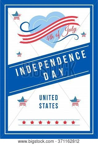 Independence Day Anniversary Poster Flat Vector Template. American National Holiday. Us Freedom And
