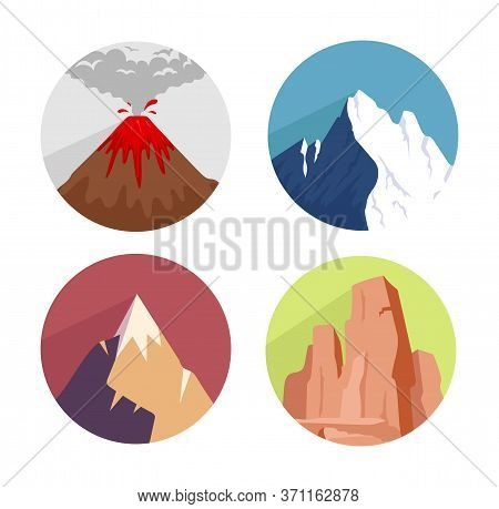 Mountains Flat Concept Icons Set. Ice Peaks, Green Hills. Wild Nature Landscape Elements. Dry Desert
