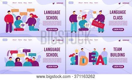 Language School Online Class Teambuilding Set Concept
