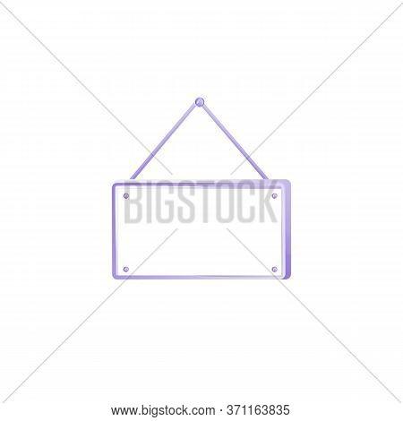 Modern Rectanglar Vector Advert Board Sign Illustration. Hanging Frame. Commercial Billboard Mockup