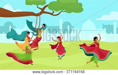 Teej Celebration Flat Color Vector Illustration. Traditional Religious Ceremony. Female In Sari On S