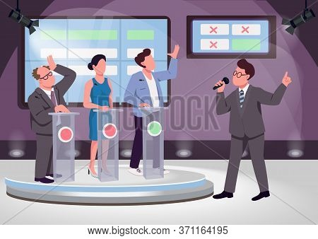 Quiz Show Flat Color Vector Illustration. Educational Game Host And Contenders 2d Cartoon Characters