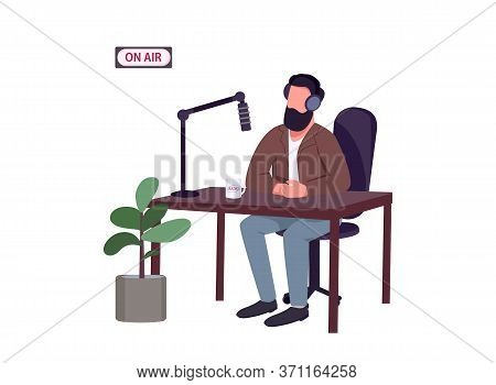 Radio Show Host Flat Color Vector Faceless Character. Caucasian Man Talking To Microphone Isolated C