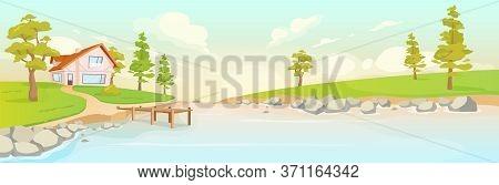 Secluded House On River Bank Flat Color Vector Illustration. Summer Sunrise In Village 2d Cartoon La