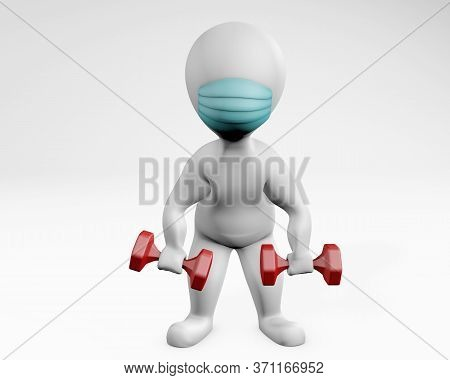 Fatty Man With A Mask Weight Lifting Dumbells 3d Rendering Isolated On White