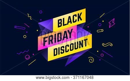 Black Friday Discount. 3d Sale Banner With Text Black Friday Discount For Emotion, Motivation. Moder