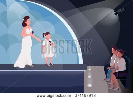 Kids Talent Show Flat Color Vector Illustration. Show Presenter With Little Girl And Audience 2d Car