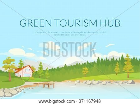Green Tourism Hub Poster Flat Vector Template. Sustainable Travel. Brochure, Booklet One Page Concep