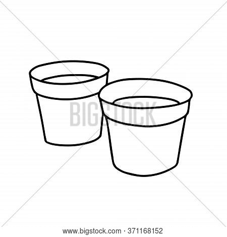 Pots For Home Plants Isolated On A White Background.illustration With Clay Or Peat Pots On A White B