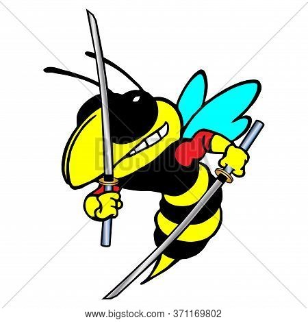 Stylized Color Vector Image Of A Wasp With Two Katanas. Stylized Color Vector Image Of A Hornets Wit