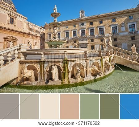Color Matching Palette From Image Of Mythological Creek Statues On Praetorian Fountain At Main Preto