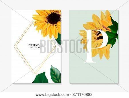 Sunflower Plant, Helianthus Hybrid Black Yellow Petal Greeting Wedding Card. Summer Garden Wildflowe