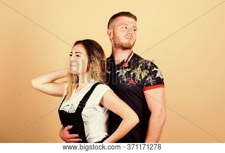 Man And Woman Beige Background. Family Love. Couple Dating. Trust And Support. Cute And Sweet Relati