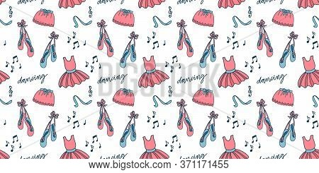 Seamless Pattern With Ballet Accessories: Tutu Skirt, Pointes, Ribbons. Vector Illustration On White