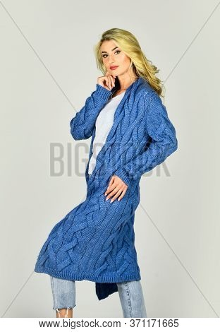 Warm And Comfortable. Girl Stylish Outfit With Soft Wool Cashmere Cardigan. Woman Wear Long Knitted