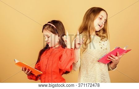 Education And Kids Literature. Favorite Fairytale. Back To School. Sisters Pick Books To Read Togeth