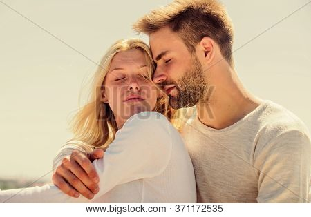 Couple In Love. Man And Woman Sunny Day Outdoors. True Love. Tenderness Concept. Enjoy Every Moment.