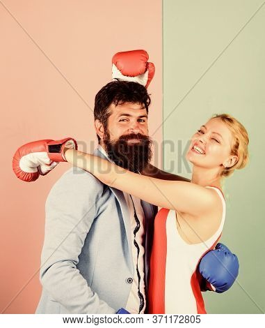 Dominating. Problems In Relationship. Sport. Family Couple Boxing Gloves. Knockout Punching. Who Is