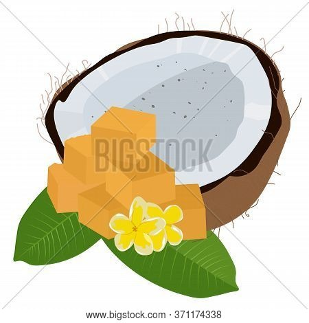 Vector Stock Illustration Of Palm Sugar. Indonesian Cubes Of Sweet Refined Tropical Sugar.  Coconut