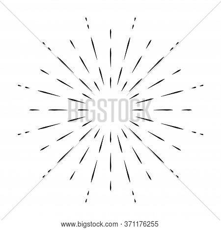 Sunburst Sun Ray Vector, Hipster Black Sunburst Shine Design, Vintage Black Radial Art, Retro Hand D