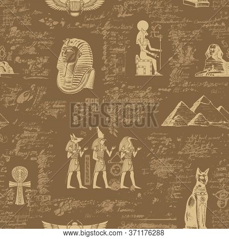 Ancient Egypt Seamless Pattern With Hand-drawn Egyptian Gods And Illegible Scribbles In Retro Style.