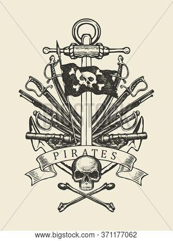 Hand-drawn Skull, Crossbones, Anchor, Sabers, Swords, Ship Guns And Pirate Flag. Decorative Vector I