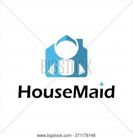 House Cleaning Logo Modern Design Template, Fun Property Maid Vector Icon Inspiration