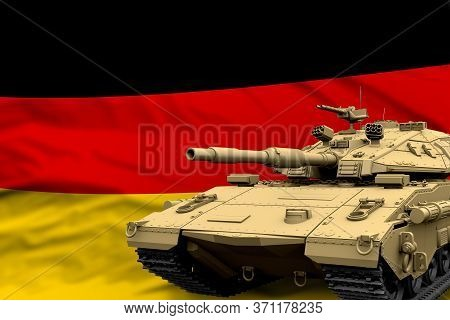 Germany Modern Tank With Not Real Design On The Flag Background - Tank Army Forces Concept, Military