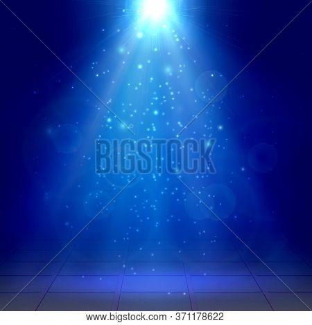 Christmas, New Year, Azure Spotlights, Fog, Smoke, Scene Disco Light Effects Vector Illustration