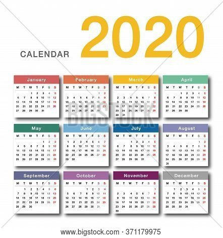 Colorful Calendar Year 2020 Vector Design Template, Simple And Clean Design. Calendar For 2020 On Wh